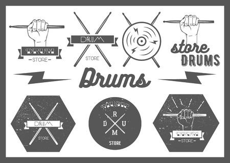 tambor: Vector conjunto de etiquetas de estilo vintage tambores
