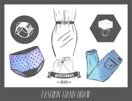 fashionably: Fashion hand drawn sketch. Vector set of labels and badges for model industry. Dress, underwear, jeans and rings. Illustration