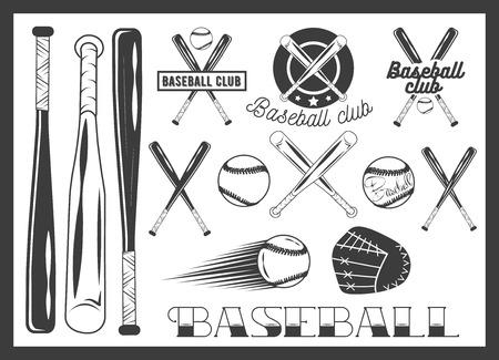 bate: Vector conjunto de emblema del club de béisbol, etiquetas, insignias y elementos de diseño. Iconos del deporte en el estilo vintage. bate de béisbol, bola, guante. palos cruzados.