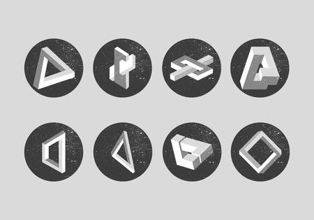 Vector conjunto de objetos imposibles. Las formas geométricas, etiquetas, rótulos, elementos de diseño. triángulo de Penrose y las ilusiones ópticas.