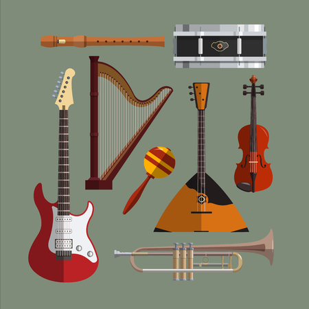 icon collection: Musical instruments collection. Music icon vector set. Flat design illustration with musical objects, guitar, violin, drum, harp.