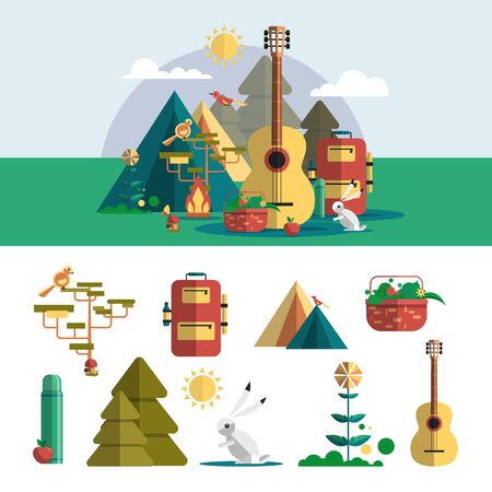 summer tree: Camping outdoor design elements in flat style. Hiking travel concept with icons, objects, infographic, equipment. Vector illustration.