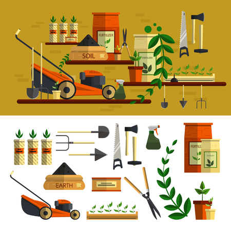 mower: Gardening tools illustration. Vector icon set in flat style design. Work in garden concept. Lawn mower, soil, tools, flowers, materials for planting.
