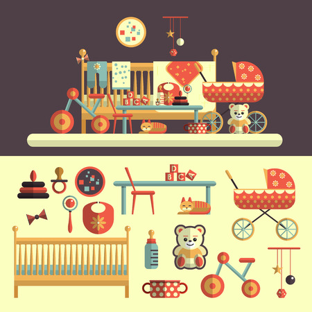 nursery room: Interior of baby room and set of toys for kids. Vector illustration in flat style design. Isolated elements, bed, nursery, teddy bear, bicycle, milk, rattles, cat, carriage