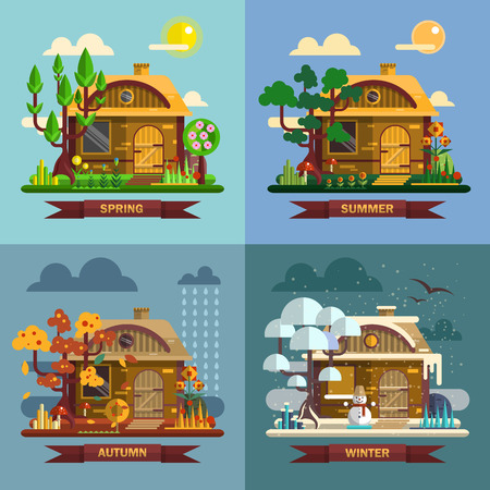 winter vacation: House in different times of the year. Four seasons concept, summer, fall, autumn, winter. Vector set in flat style design.