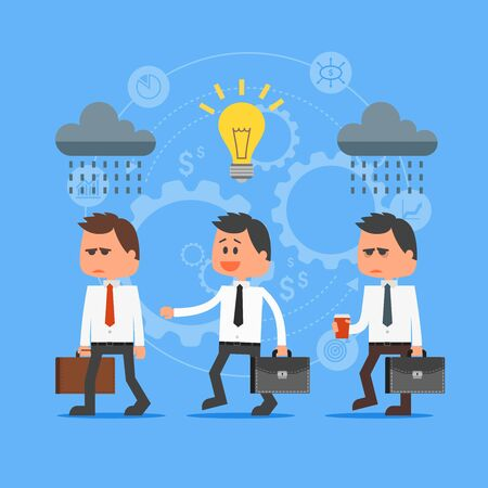 outstanding: Cartoon businessman with idea outstanding from crowd. Vector concept illustration in flat style design. Creative ideas, gears, man characters, light bulb, clouds Illustration