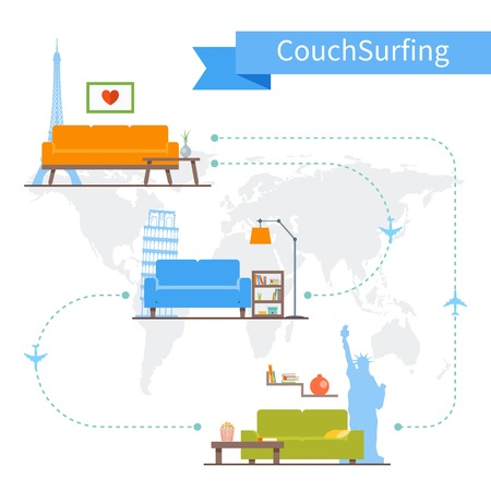 Couch Surfing and sharing economy concept. Vector illustration in flat style design. Travel infographic.