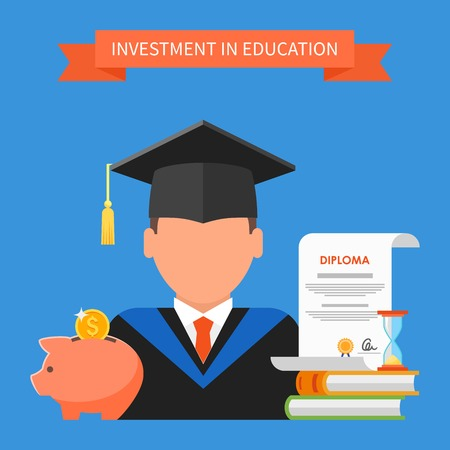 Invest in education concept. Vector illustration in flat style design. Stack of books, diploma and university student cap. Scholarship, money savings, loan. Vectores