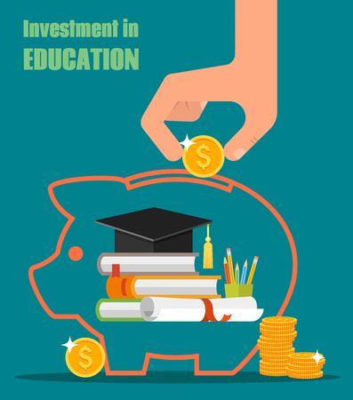 Investeren in onderwijs concept. Vector illustratie in vlakke stijl design. Stapel boeken, diploma en universitaire student-cap. besparingen of lening voor studie geld
