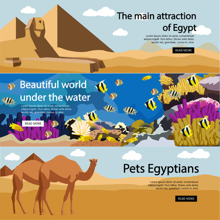 egyptian culture: Travel to Egypt banner vector set. Egyptian culture, tourist attractions and landmarks. Tourism concept with pyramids, diving in Red sea, camels in desert.