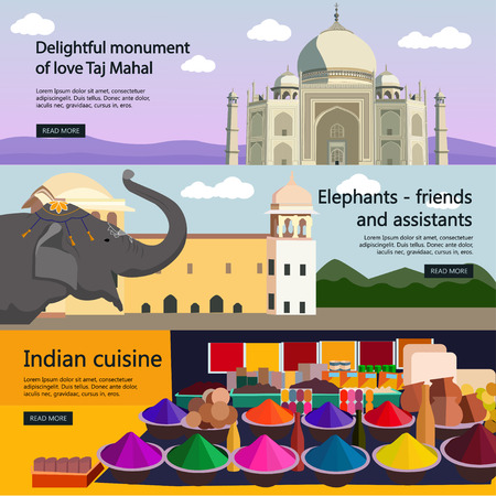 indian spices: Travel to India banner vector set. Indian culture, tourist attractions and landmarks. Taj Mahal palace and spices market.