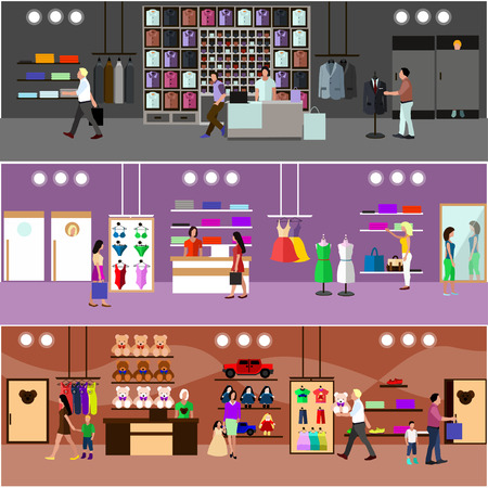tienda de ropa: Compras de la gente en un concepto de centro comercial. Interior del almacén. Ilustración vectorial colorido. Los elementos de diseño y pancartas en estilo plano.