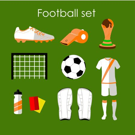 uniform green shoe: Soccer icons set. Football isolated design elements in flat style. Boots, ball, uniform