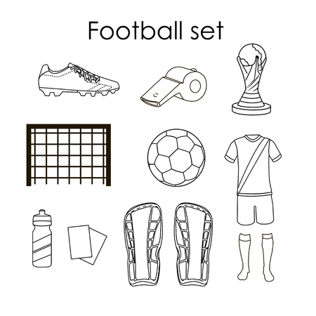 goal cage: Soccer icons set. Football isolated design elements in flat style on white background. Boots, ball, uniform, whistle, gates.