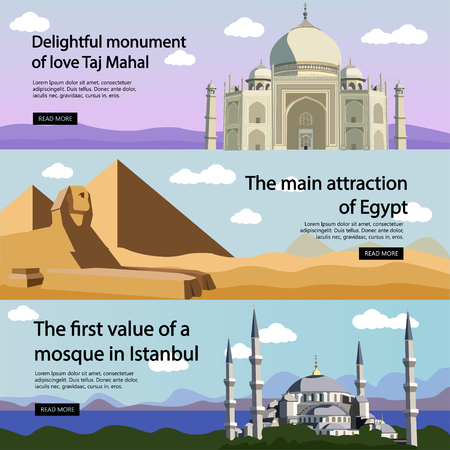aya sofia: Travel banner vector set. International culture, tourist attractions and landmarks. Tourism concept with Turkey Blue Mosque, Egypt pyramids, India Taj Mahal.