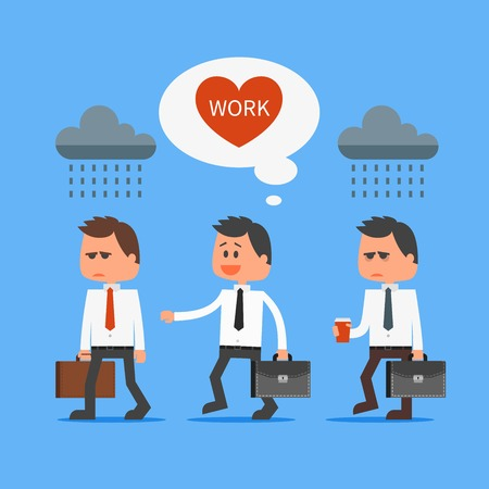cartoon work: Cartoon office worker loves his work outstanding from crowd. Going to work vector concept illustration in flat style design. Man characters, clouds, message bubble, heart, going to work.