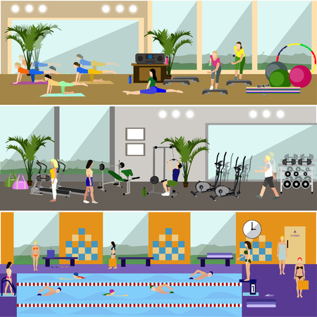 treadmill: Horizontal vector banners with gym interiors. Sport activities concept. Yoga, fitness, swimming pool. People training and exercising. Flat cartoon illustration. Illustration