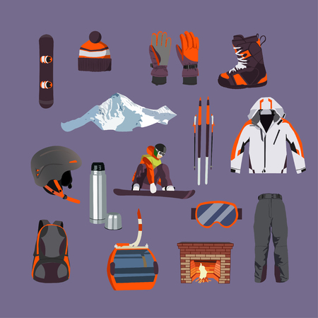 outdoor fire: Vector set of Ski and Snowboard equipment icons. Winter sports equipment isolated elements set in flat design style. Cable car. Illustration