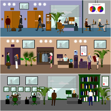 office interior: Flat design of business people or office workers. People talking and working with computers. Business presentation and meeting. Office interior.