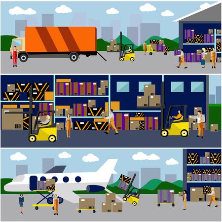 TRANSPORTE: Log�stica y concepto de transporte banderas planas. Vector conjunto de cami�n y el transporte a�reo de entrega y env�o. Servicio Almac�n. Vectores