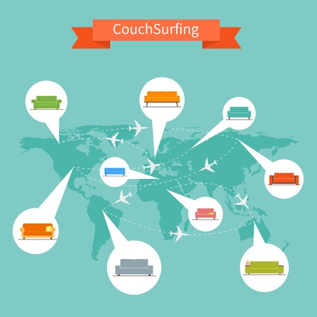 Couch Surfing and sharing economy concept. Vector illustration in flat style design.