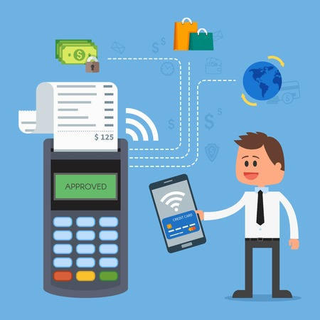 business innovation: Mobile payments with smartphone. Near field communication payment terminal concept. Online transactions, paypass and NFC. Cartoon flat style vector illustration.