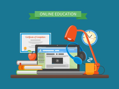 training course: Online education concept. Vector illustration in flat style. Internet training courses design elements. Laptop on a table.