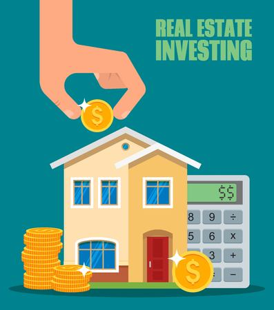 Property Investment concept. House and real estate money investment. Building placed next to coin stack. Dollar symbols and design elements.