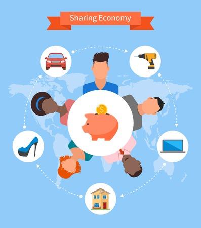 economía: Compartiendo la econom�a y el concepto de consumo inteligente. Ilustraci�n del vector en estilo plano. La gente ahorra dinero y compartir recursos. Vectores