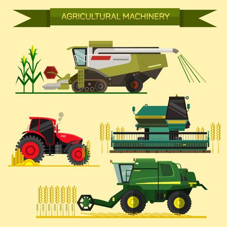 농업 차량 및 농기계의 집합입니다. 트랙터, 수확기, 콤바인. 평면 디자인의 그림입니다.