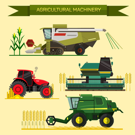 Vector set of agricultural vehicles and farm machines. Tractors, harvesters, combines. Illustration in flat design. Vettoriali