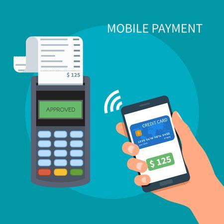 telefono caricatura: Los pagos móviles con teléfonos inteligentes. Near Field Communication concepto de terminal de pago. Las transacciones en línea, PayPass y NFC. ilustración vectorial de dibujos animados de estilo plano.