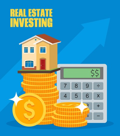 Property Investment concept. House and real estate money investment. Building placed on coin stack. Dollar symbols and design elements. Stock Illustratie