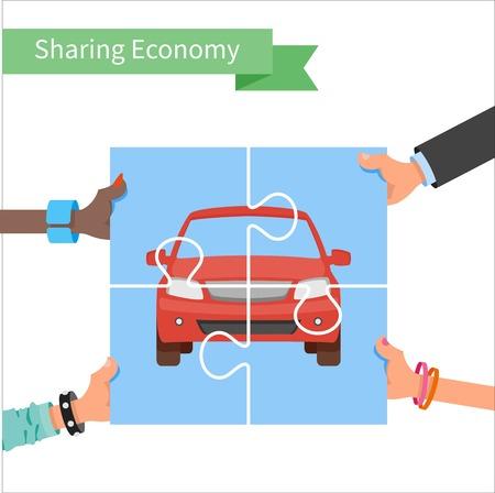 Auto-Aktien-Konzept. Gemeinsame Nutzung Wirtschaft und Collaborative Consumption Vektor-Illustration. Hände halten Fahrzeug Puzzle.