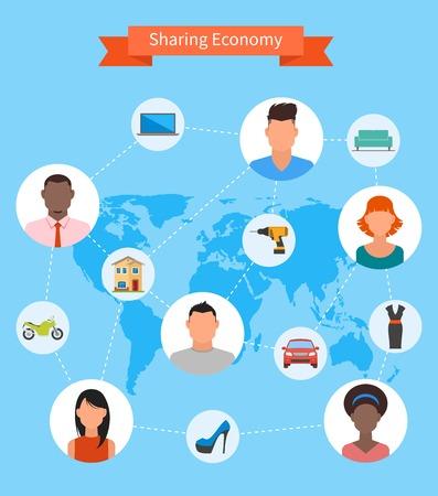 経済とスマート消費の概念を共有します。フラット スタイルのベクトル図です。人々 がお金と共有リソース保存。