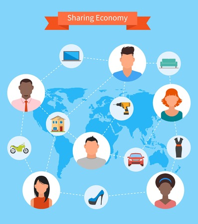economia: Compartiendo la economía y el concepto de consumo inteligente. Ilustración del vector en estilo plano. La gente ahorra dinero y compartir recursos. Vectores