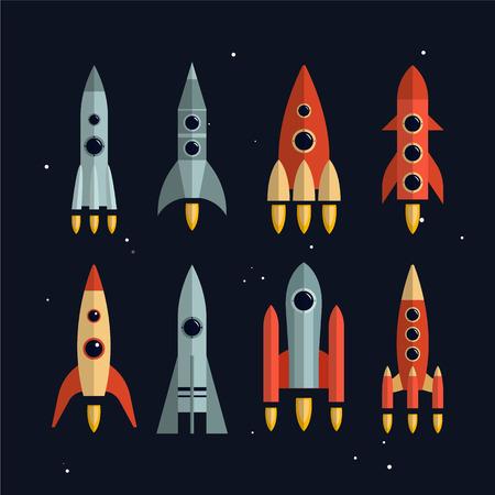 brandweer cartoon: Ruimteraketten vector pictogrammen instellen in flat design. Verkenning van de ruimte en het bedrijfsleven opstarten lancering concept. Geïsoleerde elementen.