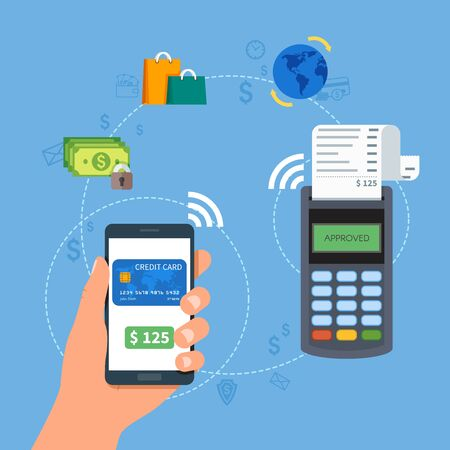 transactions: Mobile payments with smartphone. Near field communication payment terminal concept. Online transactions, paypass and NFC. Cartoon flat style vector illustration.