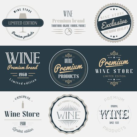 champagne bottle: Wine drink labels set. Brands design elements, emblems, badges and stickers. Isolated vector illustration in vintage style.