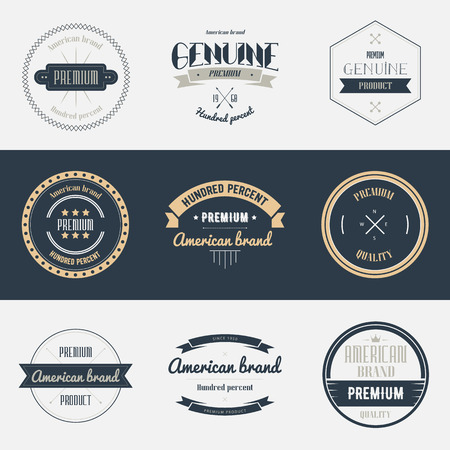 Premium quality labels set. Brands design elements, emblems,  badges and stickers. Isolated vector illustration.  イラスト・ベクター素材