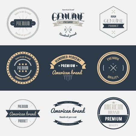 Premium quality labels set. Brands design elements, emblems,  badges and stickers. Isolated vector illustration. Illustration
