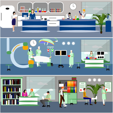 Horizontal vector banners with doctors and hospital interiors. Medicine concept. Patients passing medical check up, surgery operation room. Flat cartoon illustration.