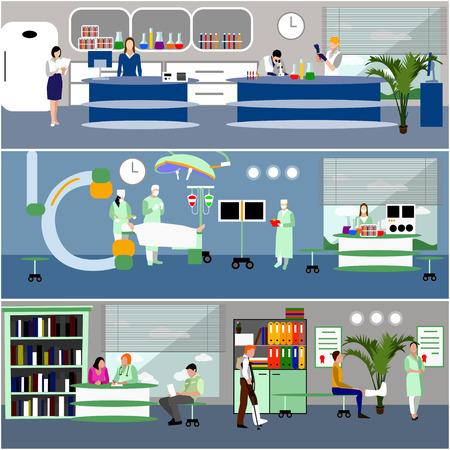 vector banners horizontales con los médicos y los interiores del hospital. concepto de medicina. Los pacientes que pasan a revisión médica, la cirugía de la sala de operación. ilustración de dibujos animados plana.