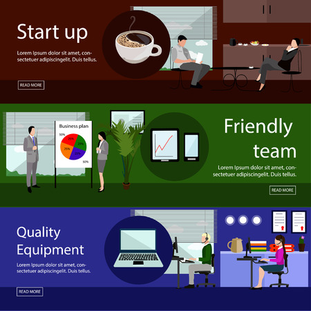 telephone interview: Set of office banners in flat style design. Business development, finance, marketing, teamwork concepts. Call center, presentation and meeting. Illustration