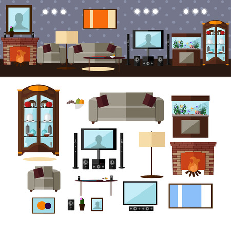 Living room interior with furniture. Concept vector illustration in flat style. Home related design elements and icons isolated on white background.