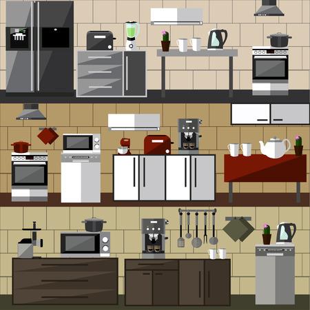 interior design: Modern kitchen interior set. Vector illustration in flat style design. Design elements and icons. Room furniture. Illustration