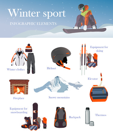 winter car: Vector set of Ski and Snowboard equipment icons and banner. Winter sports equipment isolated elements set in flat design style. Cable car. Illustration