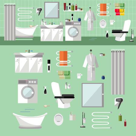 Interior de baño con muebles. Ilustración del vector en estilo plano. Los elementos de diseño, bañera, lavadora, cabina de ducha, espejos, estantes, toallas, aseo.