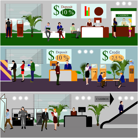 finance department: Horizontal vector banners with bank interiors. Finance and money concept. Flat cartoon illustration. Counter desk, cashier, consulting, currency exchange, ATM.