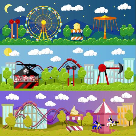 Ilustración del vector del concepto de parque de atracciones en el diseño de la bandera de estilo plano. feria de la ciudad. Toboganes y columpios, carruseles, los ferris atracción rueda.